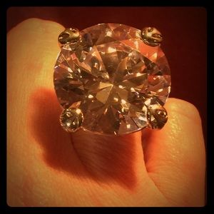 Jewelry - Huge Knockout CZ Sterling Silver Ring